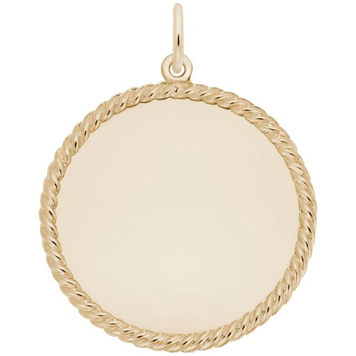 14K Gold Large Rope Disc Charm by Rembrandt Charms