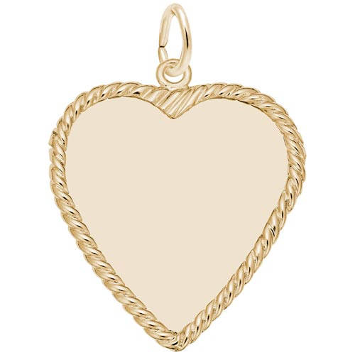 14K Gold Large Classic Rope Heart Charm by Rembrandt Charms