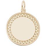 Disc, Filigree Large Charm in 14k Gold