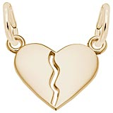 14K Gold Small Breaks Apart Heart Charm by Rembrandt Charms