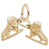 Rembrandt Ice Skates Accent Charm, Gold Plate