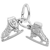 14K White Gold Ice Skates Accent Charm by Rembrandt Charms