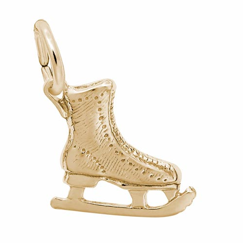 Gold Plate Ice Skate Charm by Rembrandt Charms
