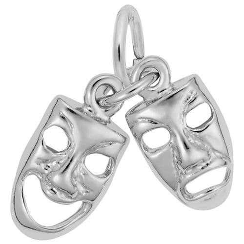 14K White Gold Comedy & Tragedy Masks Accent by Rembrandt Charms