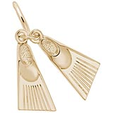 Gold Plate Swim Fins Charm by Rembrandt Charms