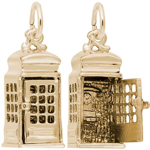Gold Plate Phone Booth Charm by Rembrandt Charms