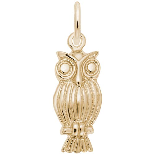 Gold Plate Screech Owl Charm by Rembrandt Charms