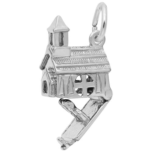 14K White Gold Opening Church Charm by Rembrandt Charms
