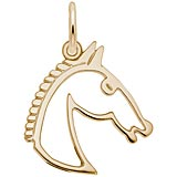 Gold Plate Flat Horse Head Charm by Rembrandt Charms