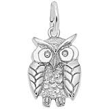 14K White Gold Owl, Wise Charm