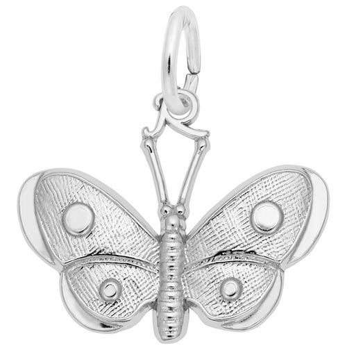 14K White Gold Spotted Wings Butterfly Charm by Rembrandt Charms