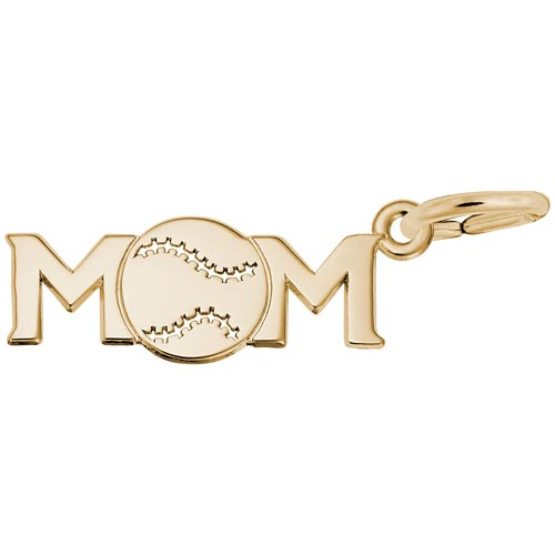 14K Gold Baseball Mom Charm by Rembrandt Charms