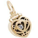 14K Gold Heart Engagement Ring Box Charm by Rembrandt Charms