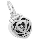 Sterling Silver Heart Engagement Ring Box Charm by Rembrandt Charms