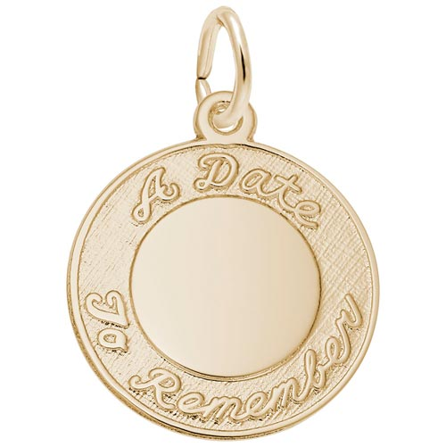 14k Gold A Date To Remember Disc Charm by Rembrandt Charms