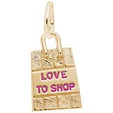Gold Plated Love To Shop Bag Charm by Rembrandt Charms