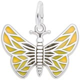 14K White Gold Painted Wings Butterfly Charm by Rembrandt Charms
