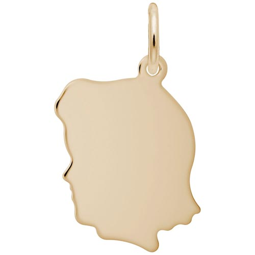 14k Gold Flat Medium Girl's Head Charm by Rembrandt Charms