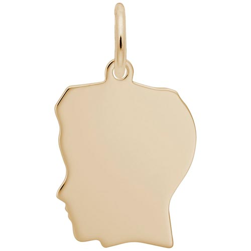 14k Gold Flat Medium Boy's Head Charm by Rembrandt Charms