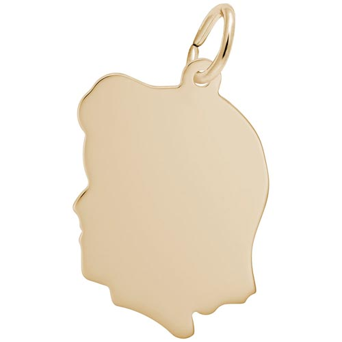 14k Gold Flat Large Girl's Head Charm by Rembrandt Charms