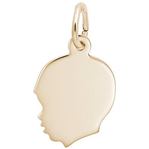 14k Gold Flat Young Boy's Head Charm by Rembrandt Charms