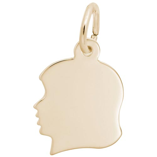 14k Gold Flat Young Girl's Head Charm