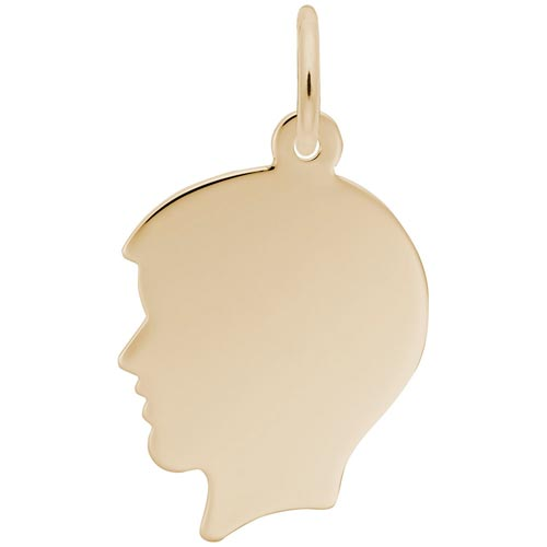 14k Gold Flat Boy's Head Charm by Rembrandt Charms