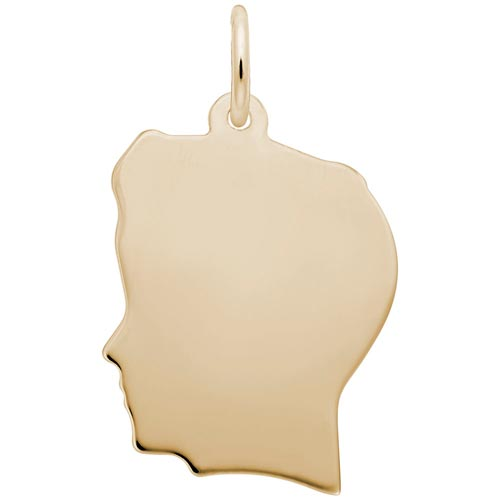 14k Gold Flat Large Boy's Head Charm