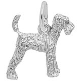 14k White Gold Airedale Dog Charm by Rembrandt Charms