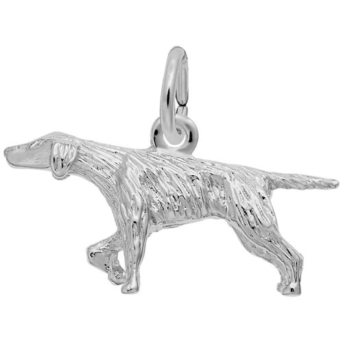 14K White Gold Pointer Dog Charm by Rembrandt Charms