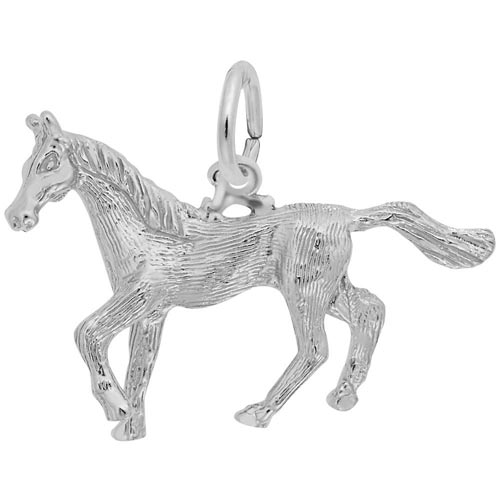 14K White Gold Trotting Horse Charm by Rembrandt Charms