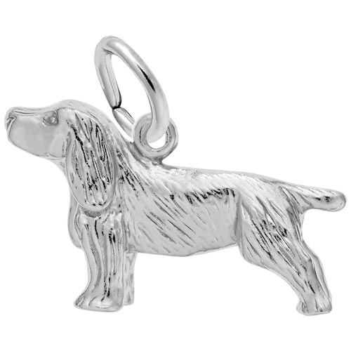 14K White Gold Springer Spaniel Dog Charm by Rembrandt Charms