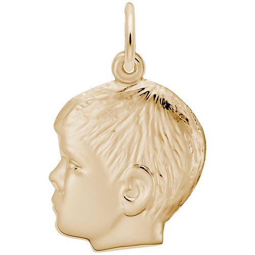 Rembrandt Boys Head Charm, 14k Yellow Gold
