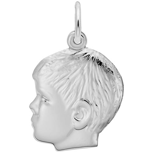 Rembrandt Boys Head Charm, Sterling Silver