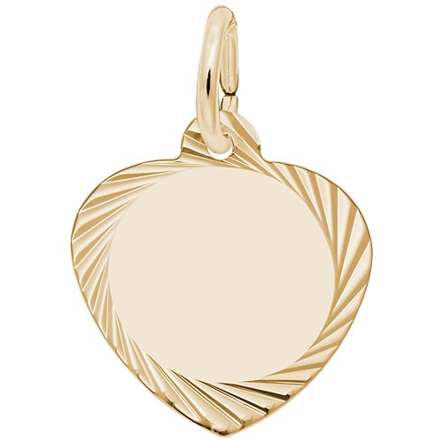 14K Gold Small Faceted Heart Charm by Rembrandt Charms