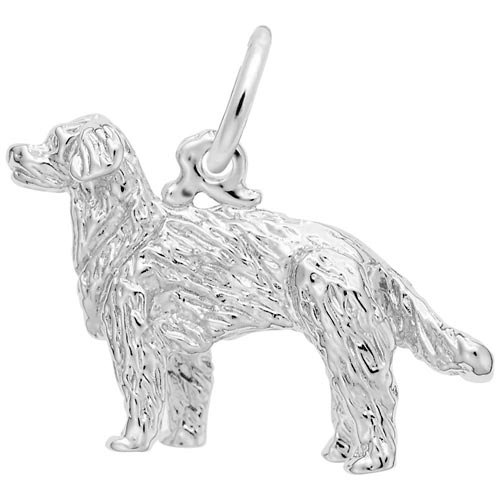 14K White Gold Golden Retriever Dog Charm by Rembrandt Charms
