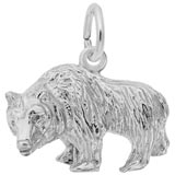 14K White Gold Grizzly Bear