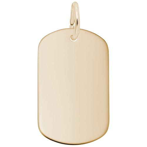 14K Gold Small Dog Tag Charm by Rembrandt Charms
