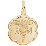 14k Gold RN Caduceus Scalloped Charm by Rembrandt Charms