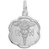 14k White Gold RN Caduceus Scalloped Charm by Rembrandt Charms