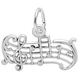 Rembrandt Music Staff Charm, Sterling Silver