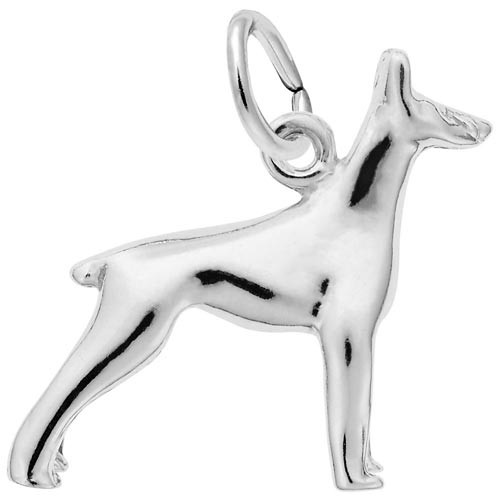 14K White Gold Doberman Dog Charm by Rembrandt Charms