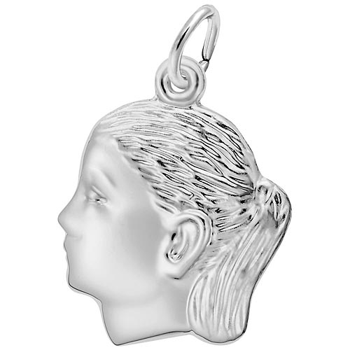 14k White Gold Girl's Head Charm by Rembrandt Charms