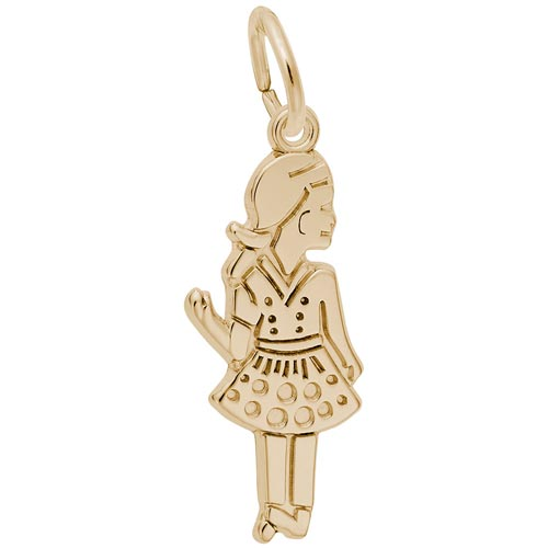 14k Gold Waving Girl Charm by Rembrandt Charms