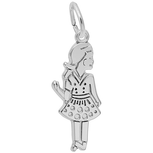 Sterling Silver Waving Girl Charm by Rembrandt Charms