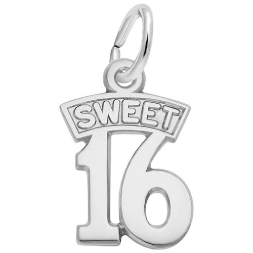 14K White Gold Sweet Sixteen Charm by Rembrandt Charms