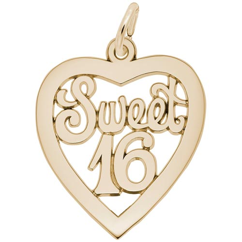14K Gold Sweet Sixteen Open Heart Charm by Rembrandt Charms