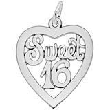 Rembrandt Sweet Sixteen Open Heart Charm, Sterling Silver