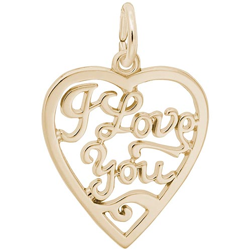 Gold Plate I Love You Open Heart Charm by Rembrandt Charms