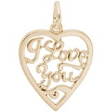 10K Gold I Love You Open Heart Charm by Rembrandt Charms